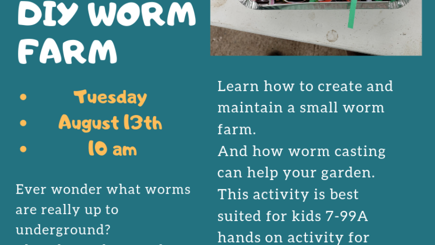 Summer Children's Workshop- DIY Worm Farm!